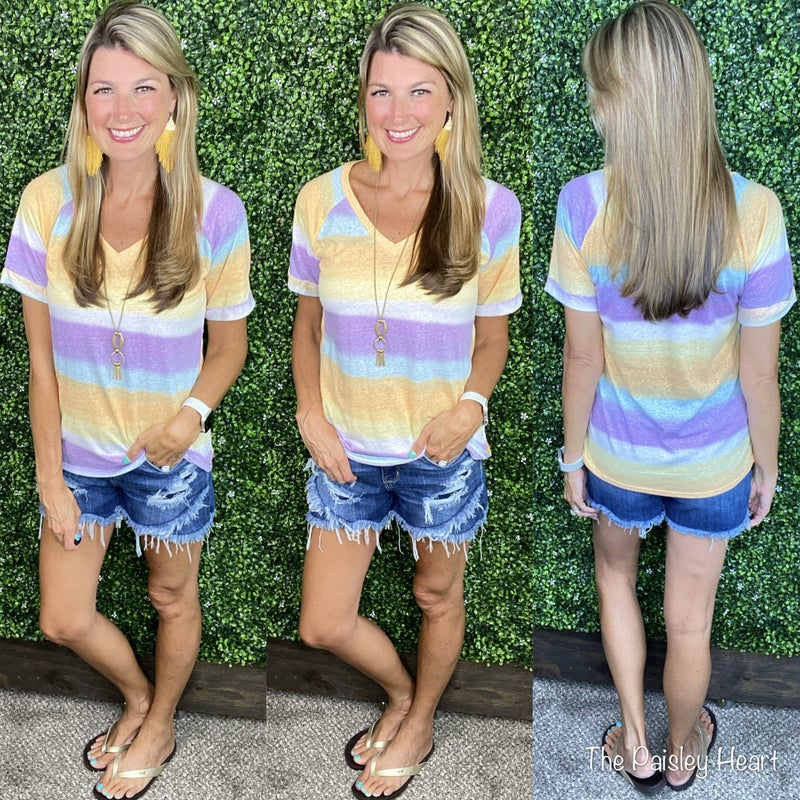 Ombre Stripes V-Neck