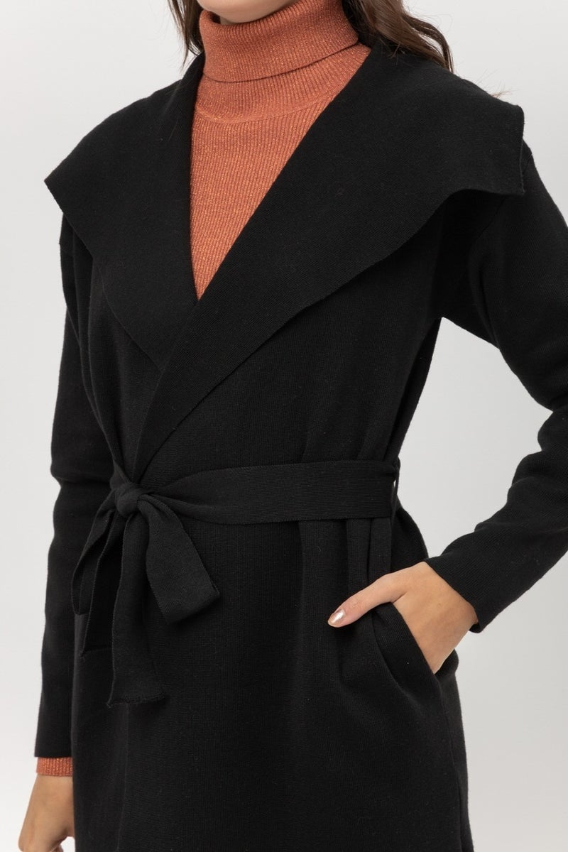 Simply Chic Black Ribbed Long Belted Cardigan Coat