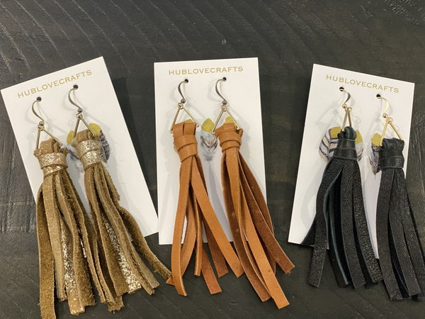 High End Leather Tassel Earrings
