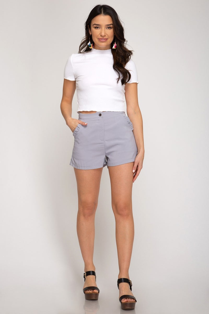 Solid Shorts with Ruffled Pocket Trim