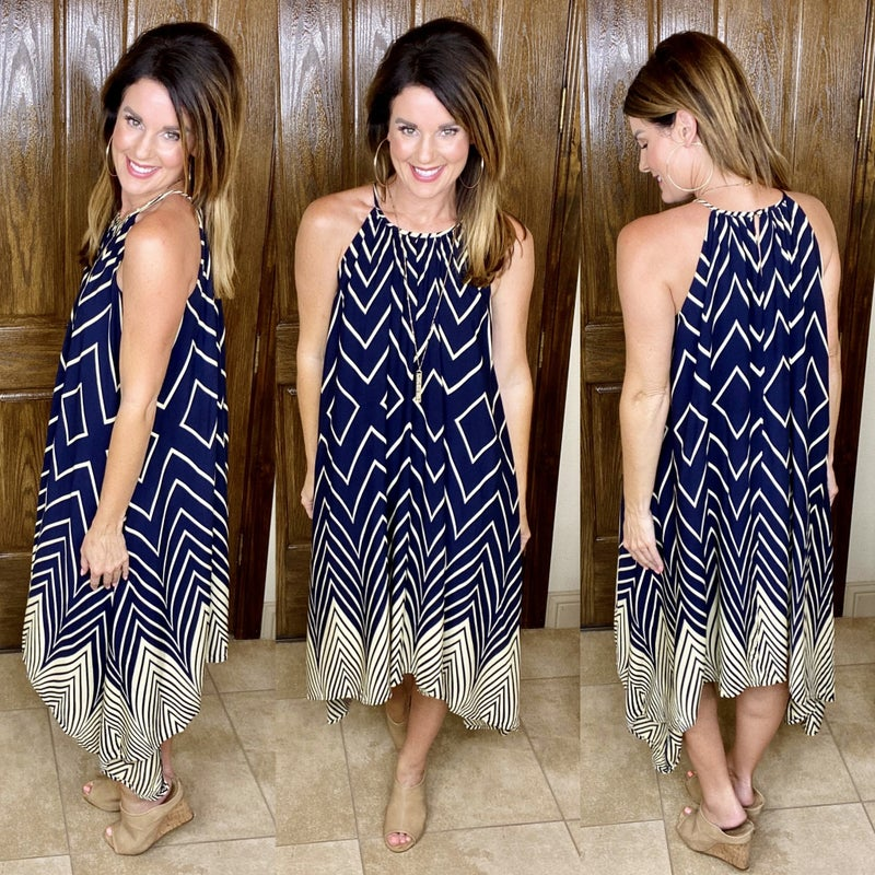 Handkerchief Hem Geo Print Dress