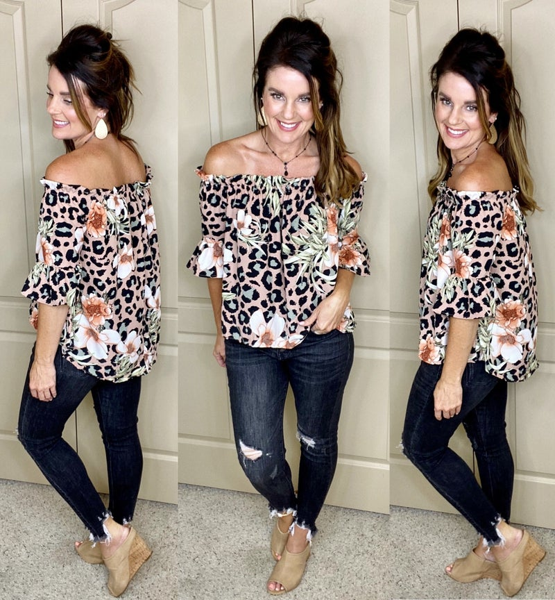 Leopard and Floral Off The Shoulder Top - LMTD//NO RESTOCK AVAILABLE