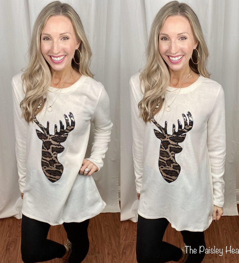 Cheetah Reindeer Soft Top with Elbow Patches