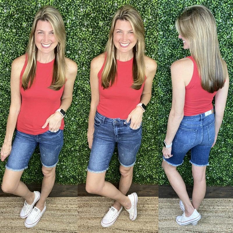 Judy Blue High Rise Cut Off Denim Shorts