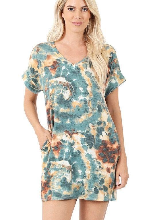 Leia Tie Dye Tunic Shifter Dress