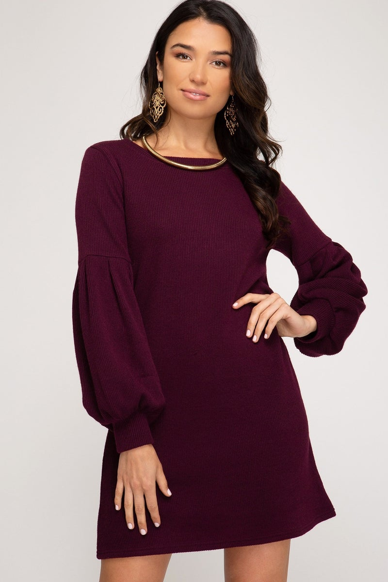 Cicily Rib Knit Solid Dress
