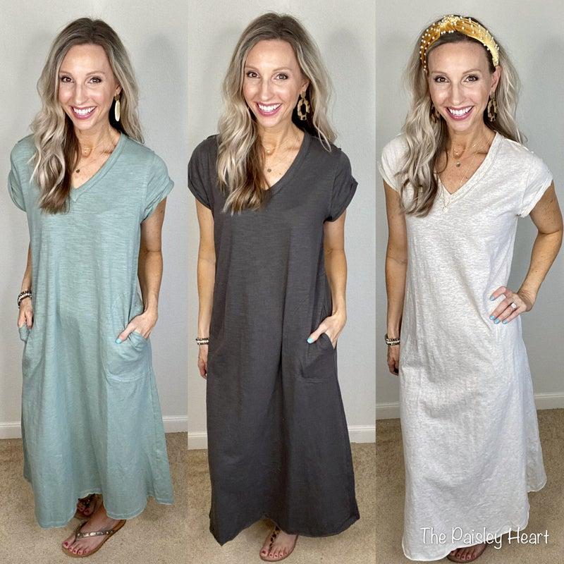 V-Neck SS Maxi Dress with Pockets & Raw Hem