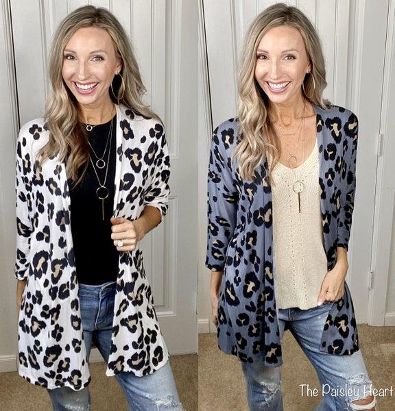 Cheetah Print 3/4 Sleeve Open Front Kimono Cardigan