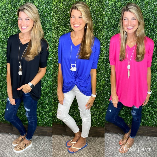 Loose Fit V-Neck Knit Tunic