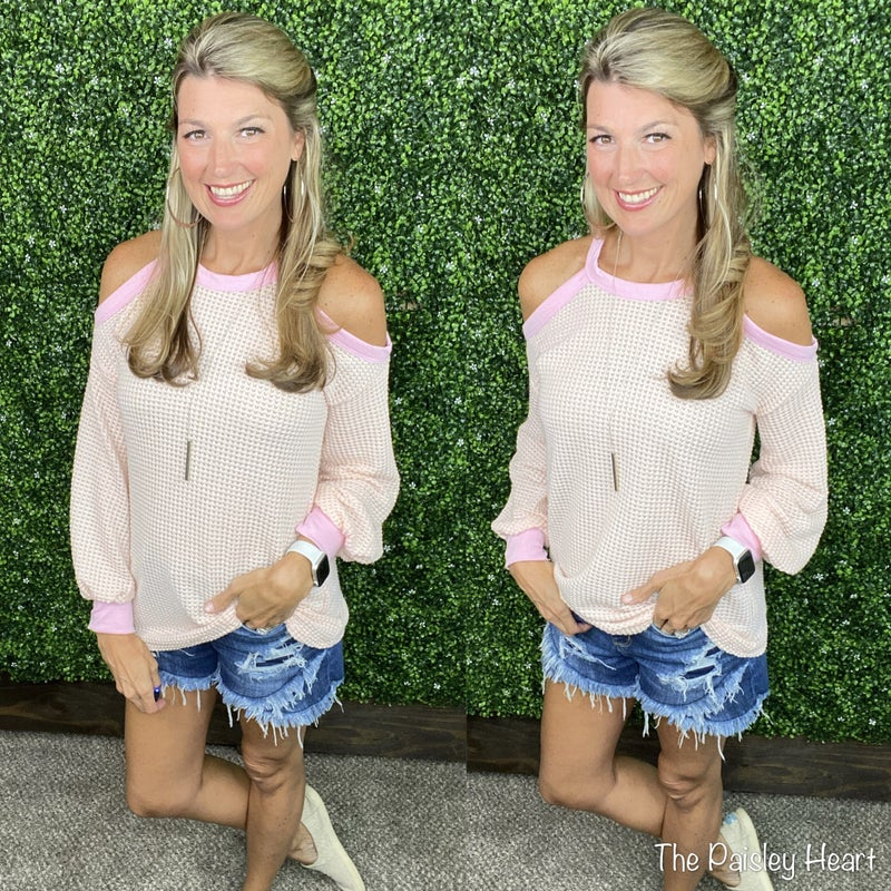 Sweetly Softer Cold Shoulder Waffle Top