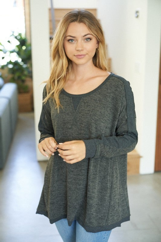 Solid Choice Long Sleeve Relaxed Pullover