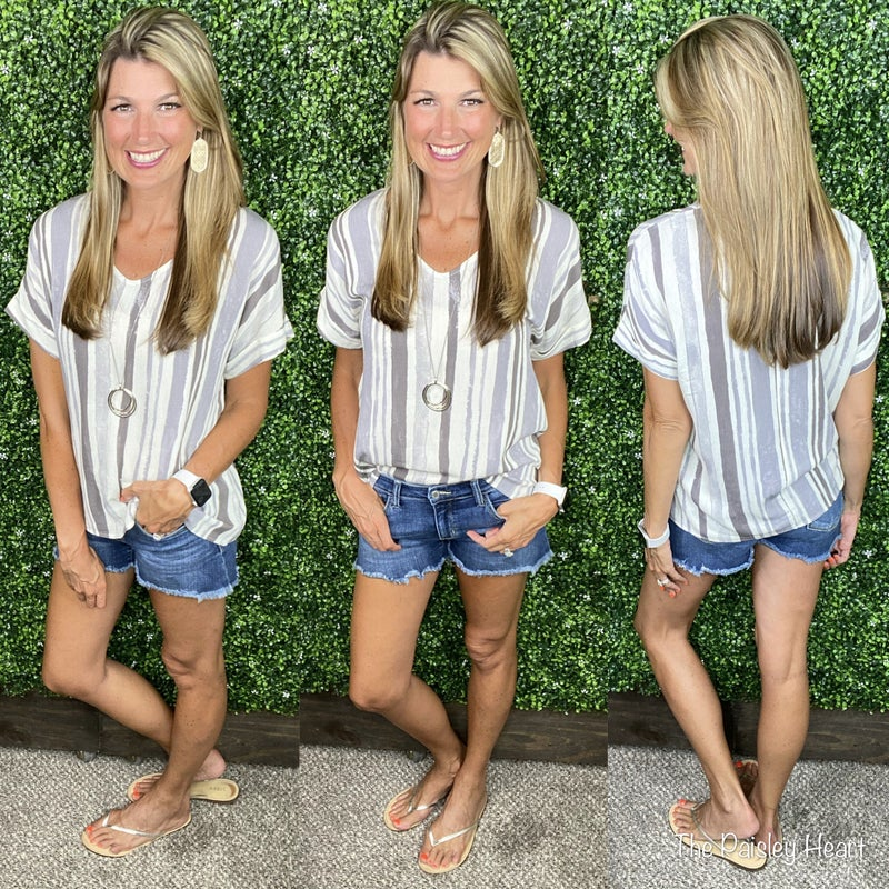 Shades of Grey V-Neck Top