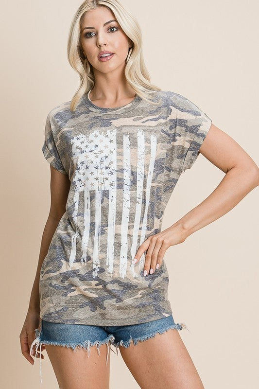 Camo American Girl Top