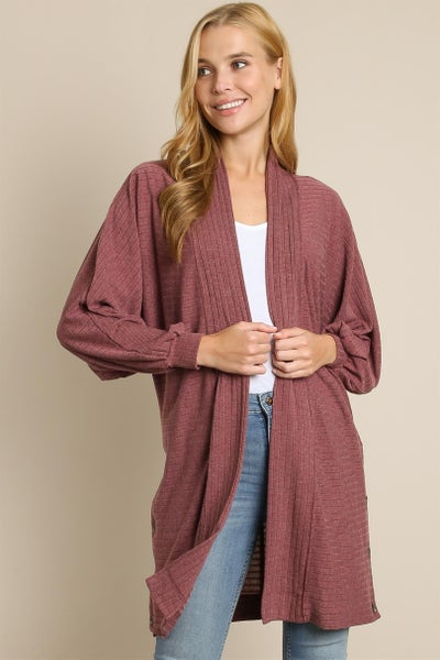 Layered in Comfort Open Front Ribbed Cardigan