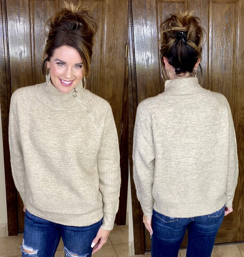 Mock Neck Ribbed Sweater with Zipper Detail