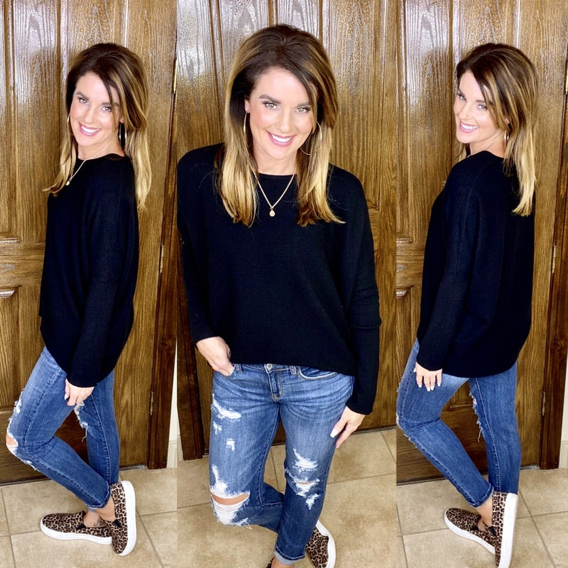 Everyday Essential Dolman Sleeve Lightweight Ribbed Sweater