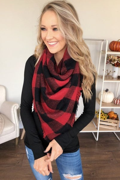 Fireside Buffalo Plaid Blanket Scarf