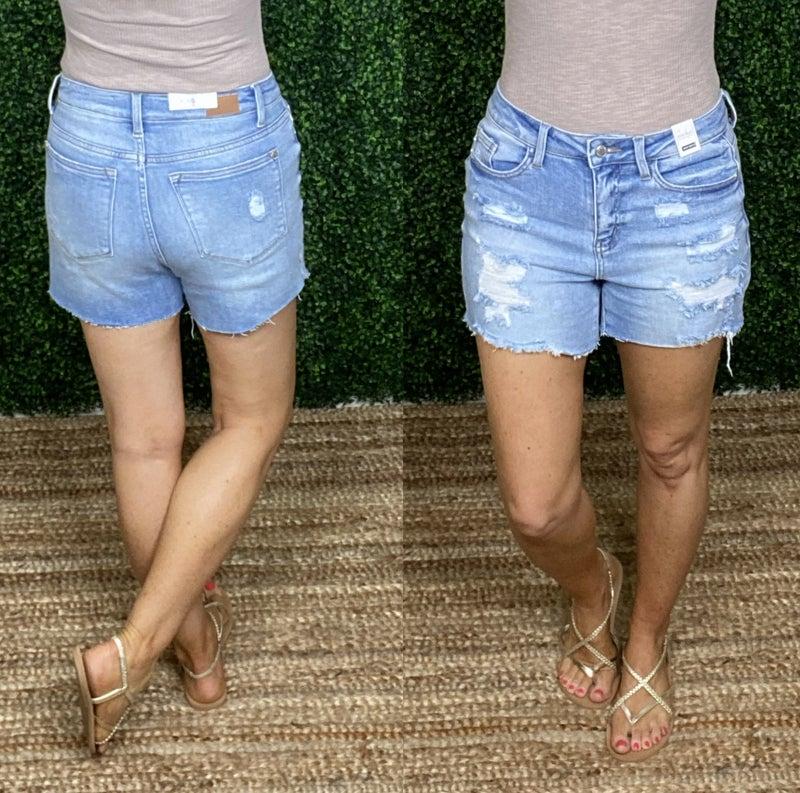 Judy Blue Distressed Light Denim Shorts