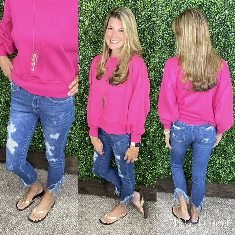 Judy Blue Asymmetric Frayed Skinny