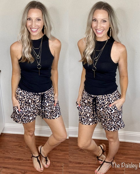 Leopard Casual Pocket Shorts