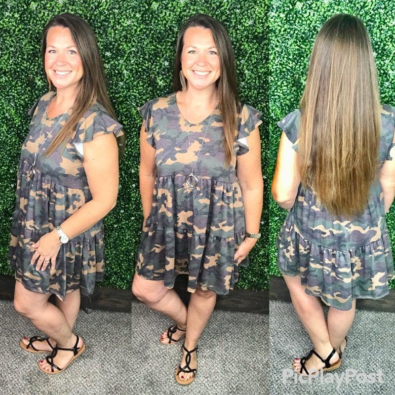 Corinna - Camo Flutter Sleeve Dress