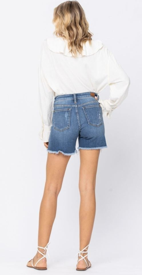 Judy Blue Patched Cut Off Denim Shorts