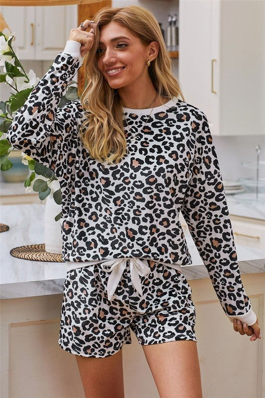 Lovely in Leopard Long Sleeve Top with Comfy Shorts 2 Piece Set