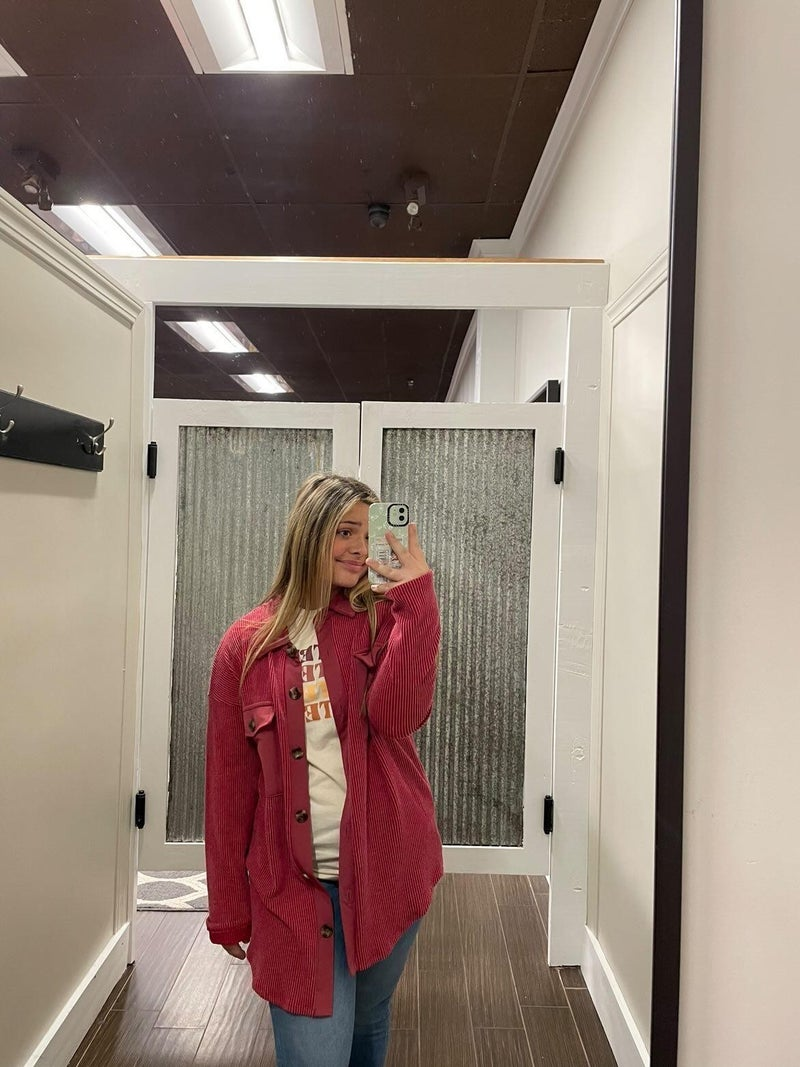 Crisp Button Jacket- Red
