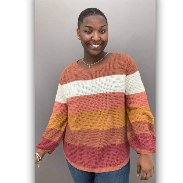 Campside Knit Sweater- Rust