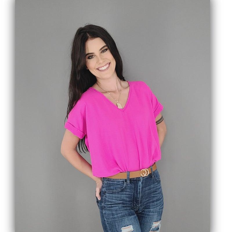 Spring Cuff Bodysuit- Hot Pink