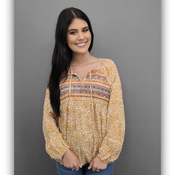 Laken Embroidered Leopard Top