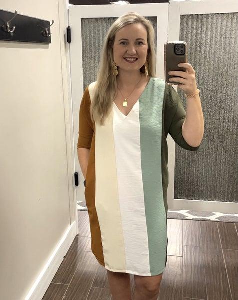 Caramel Colorblock Dress