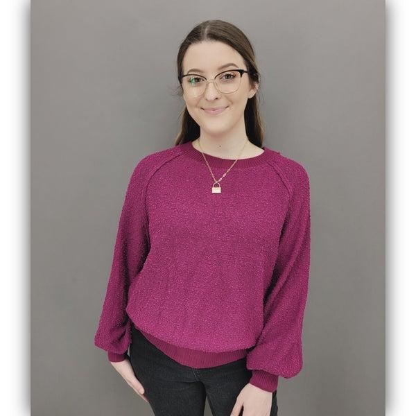 Sasha Puff Sleeve Sweater- Magenta