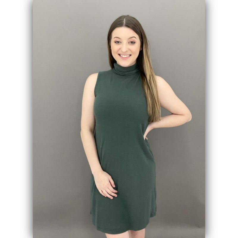 Amariah Cowl Neck Dress-Olive