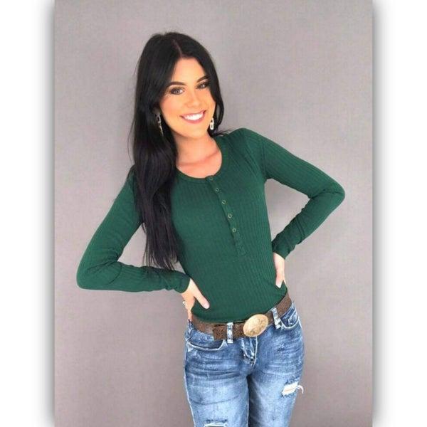 Josie Ribbed Bodysuit-Emerald