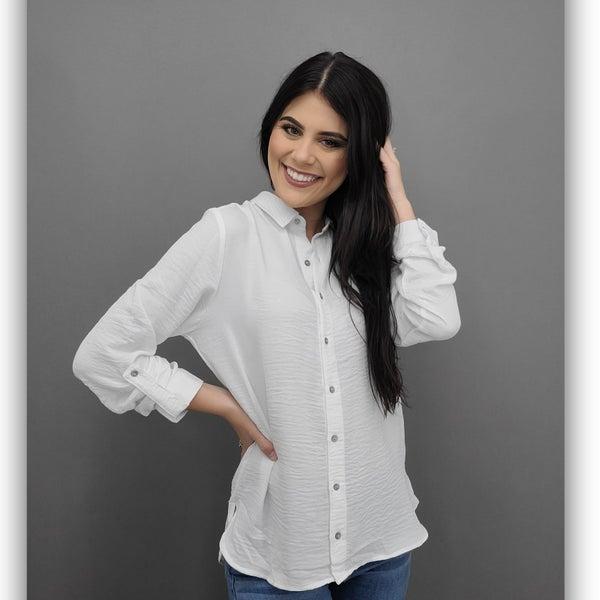 Julia button down top - White