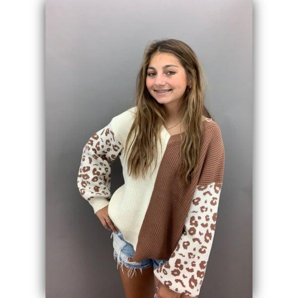 Side by Side Leopard Sweater -Brown