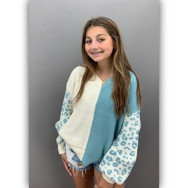 Side by Side Leopard Sweater -Blue