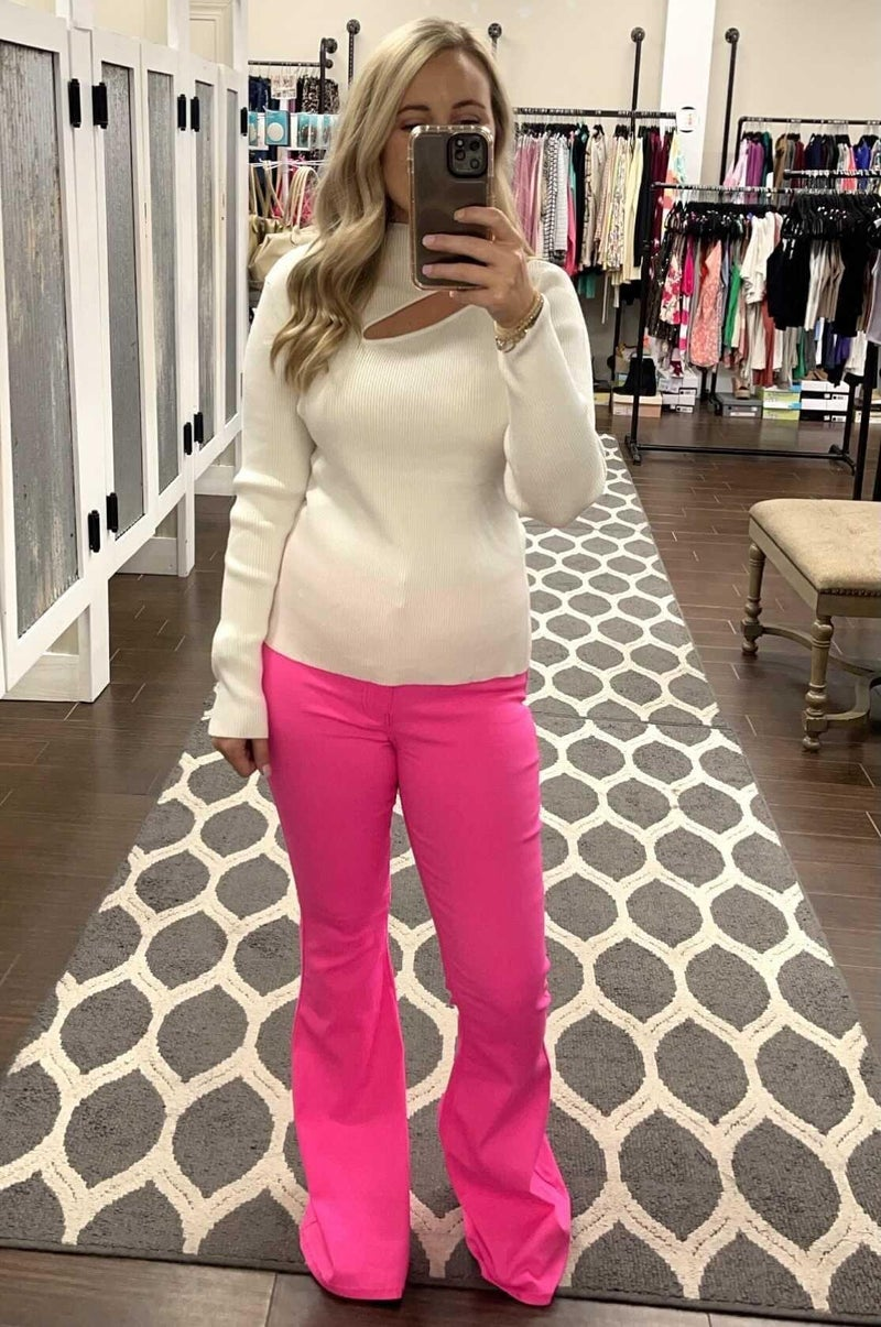 Sweetheart Flares-Hot Pink