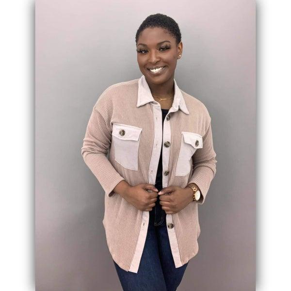 Crisp Button Jacket- Tan
