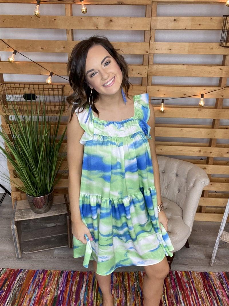 The Green Patio Babydoll Dress