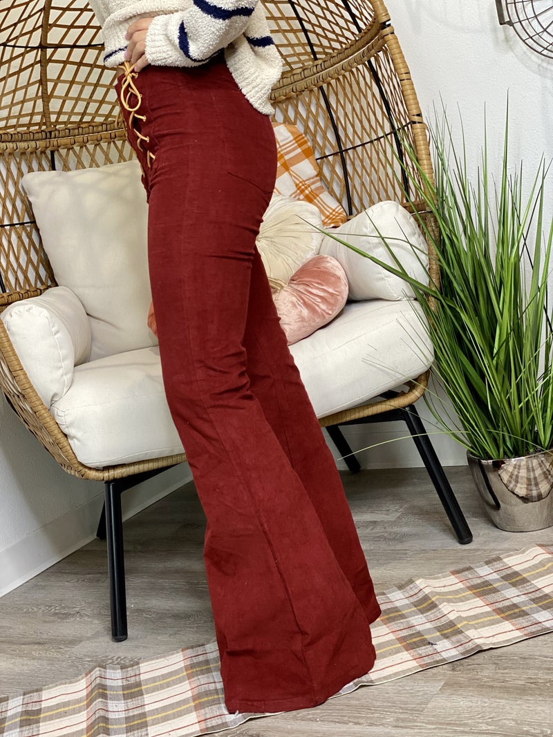 The Corded Flares in Maroon