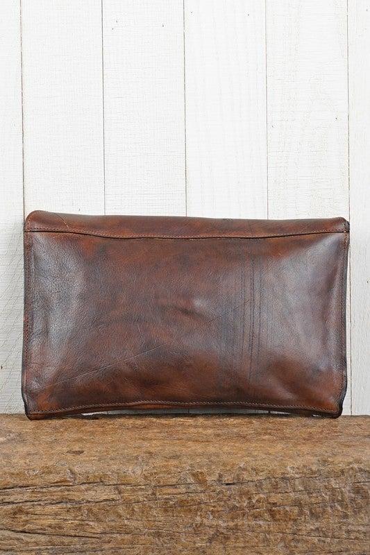 Love Stitch Leather Clutch-Black or Brown