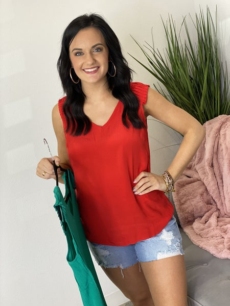 Pleated Shoulder Tank - 3 Colors