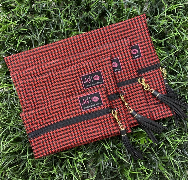 Red Houndstooth MJ Bags-4 Sizes