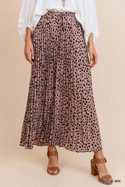 Blush Pleated Dot Maxi Skirt