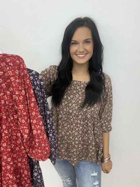 The Boho Floral Top in 3 Colors-All Sizes