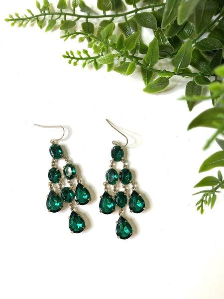 LD STEAL 69-Green Chandelier Earrings