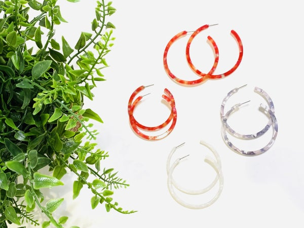Surprise Steal-Acrylic Hoops in 3 Colors