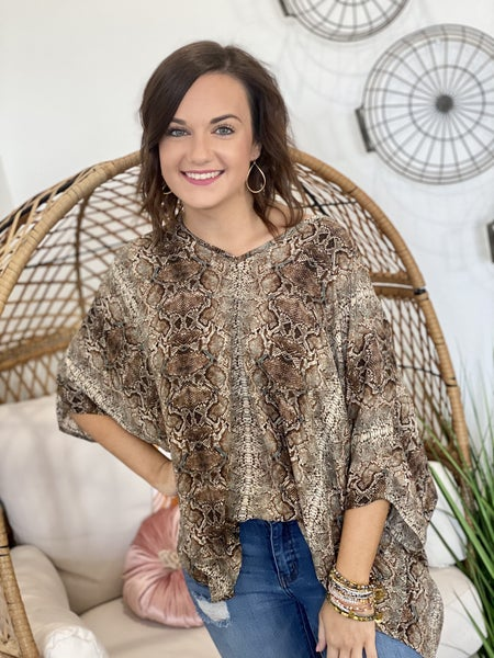 Teal Snake Poncho Top
